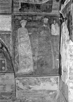 Figure 2. Portraits of Desislava (left) and the ktetor Koloian (right), bearing a model of the church, are seen on the north wall of the narthex of the Church of Saints Nicholas and Panteleemon.<br/><br/>Source: Photo by Vladimir Tsvetkov, 2008.