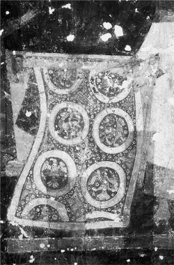 Figure 4. Church of Saints Nicholas and Panteleemon, detail of the carpet from the Miracle of St. Nicholas with the Carpet, painted in the lower register of the southern vault of the narthex.<br/><br/>Source: Photo by Asen Kirin, 2000. Reproduced with permission from Asen Kirin.