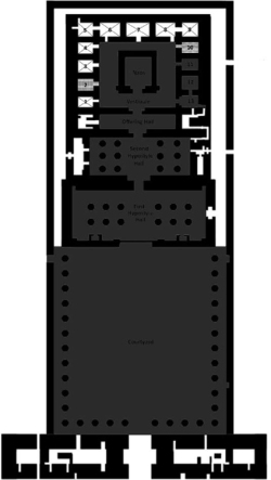 Figure 3. Plan of Edfu Temple showing the extent of damage of each area. Rooms in dark gray sustained maximal damage. Those with an X moderate, and those in checker board minimal damage, with destruction mostly limited to the soubassement and first register (after Charles York Miller).
