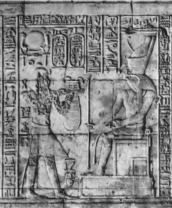 Figure 16. Edfu pl. 217, Naos, Register 2. The male individual on the left has been attacked by iconoclasts, but the falcon-headed Horus was left unscathed (Photo: © IFAO).