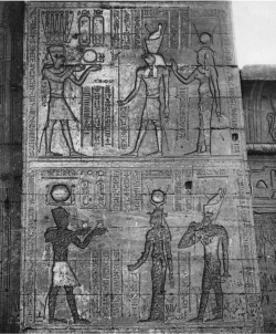 Figure 17. Edfu pl. 664, Pylon, Registers 3 & 4. Iconoclasts had attacked the scene on the third register, but were unable to reach the scene located above (Photo: © IFAO).