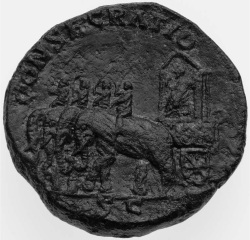 Figure 2. Sestertius of Marcus Aurelius, 169 , showing an elephant-drawn chariot (Photo: Museum of Fine Arts, Boston, inv. no. 61.1069. © 2016 Museum of Fine Arts, Boston).