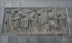 Figure 5. Nathan Rapoport, Warsaw Ghetto Uprising Monument, Warsaw, Poland, 1948. Bronze. Detail: Martyr's Relief.