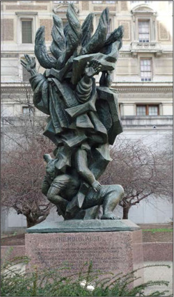 Figure 6. Nathan Rapoport, Monument to the Six Million Jewish Martyrs, Philadelphia. Benjamin Franklin Parkway and 16th and Arch Streets. Bronze and granite; 18' in height, 1964.