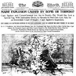 "Figure 2. ""Maine Explosion Caused by Bomb or Torpedo?,"" New York World, February 17, 1898."
