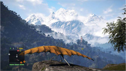 Figure 2. Far Cry 4: Hang glider near rebel village. Screenshot by author.