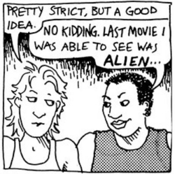 Fig 1. Panel from Alison Bechdel's Dykes to Watch Out For.