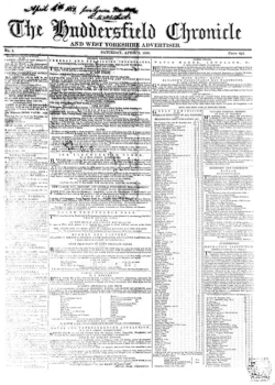 Figure 2. Image of the front page of the Huddersfield Chronicle, April 6, 1850, in 19th-Century British Library Newspapers, part II.