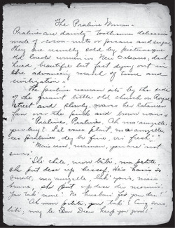 "Fig. 6. Handwritten first page from the manuscript of ""The Praline Woman."" Dated 2 May 1897 by Alice Ruth Moore. Bound notebook. 113, Alice Dunbar-Nelson Papers, Special Collections, University of Delaware Library. Used courtesy of Special Collections, University of Delaware Library, Newark."