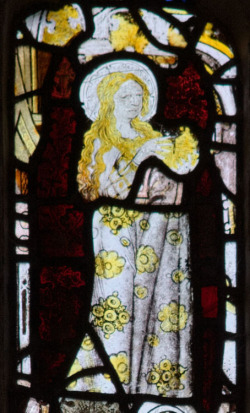 Fig. 5. The Magdalene, with her unbound hair and alabastrum, from the stained glass currently in the north aisle of the nave of Holy Trinity, Long Melford.
