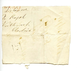 "Figure 12. Fragment of a letter wrapper addressed to Lord Delamere, postmarked in 1833 or 1838. The obverse has been utilised by Hand Z as a ""wrapper"" for bundle thirteen of Hartlib's Papers, containing letters to Hartlib from Cheney Culpeper. HP 13/1b. Courtesy of Sheffield University Library, Special Collections."