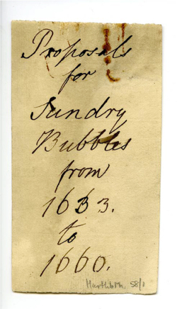 Figure 13. Bundle wrapper in Hand Z, who consulted Hartlib's papers after 1833 or 1838. Rust from a gem-style paperclip (widely manufactured after 1890) is visible at top right, and is probably an artefact of Turnbull's activity in the archive. HP 58/1a. Courtesy of Sheffield University Library, Special Collections.