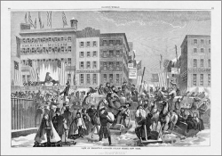 "Figure 1. ""View of Broadway, Opposite Fulton Street, New York,"" Harper's Weekly 2, no. 8 (1860): 104–105. Accessed via HarpWeek."