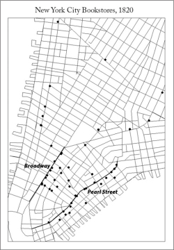 Figure 4. Map of bookstore locations in 1820. Pearl Street and Broadway highlighted. In the first decades of the nineteenth century, Pearl Street was the primary locus for bookselling. (Map created in ArcGIS and modified in Adobe Photoshop. Data projected onto street line base map based on the historical 1845 Breese map and drawn in ArcGIS).