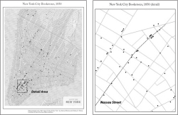 Figure 9. Map of bookstore locations in 1850, Nassau Street cluster detail. John Doyle pitted his store on Nassau Street against those on Broadway, arguing for an appreciation of the book's intellectual, rather than aesthetic, value. Doyle's store and others on Nassau Street were part of an emerging cluster of second-hand bookstores at mid-century.