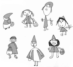 Figure 7. Le Petit Chaperon Rouge. Black and white sketches partly colored in red so that there is a different Little Red Riding Hood on each page but the story is still coherent. In this way, every child contributed to the wordless picturebooks.
