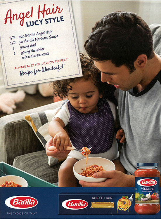 Father Having Fun Showing His Child How to Eat Pasta30