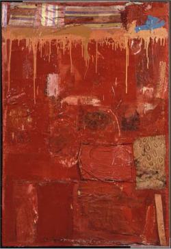 Fig. 2. Robert Rauschenberg, Untitled, 1954. Oil, fabric, and newspaper on canvas, 70 ¾ x 47 inches. The Eli and Edythe L. Broad Collection, Los Angeles, RRF 54.016.