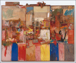 Fig. 4. Robert Rauschenberg, Collection, 1954. Combine: oil, paper, fabric, newspaper, printed reproductions, wood, metal, and mirror on three canvas panels, 80 × 96 × 3 ½ inches. San Francisco Museum of Modern Art, Gift of Harry W. and Mary Margaret Anderson, RRF 54.001.