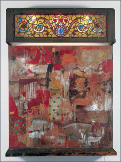 Fig. 5. Robert Rauschenberg, Untitled (With Stained Glass Window), 1954. Combine: oil, paper, fabric, newspaper, and printed reproductions on canvas with wood, stained glass, and electric lights, 75 × 56 ½ × 18 inches. Private collection, Paris, RRF 54.021.