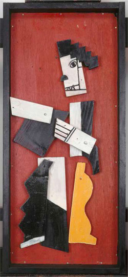 "Fig. 1. Fernand Léger. Untitled (""Charlot Cubiste""), 1924. Painted wooden elements, nailed on plywood. 73.4 × 22.4 × 6 cm. Musée National d'Art Moderne, Centre Georges Pompidou, Paris, France."