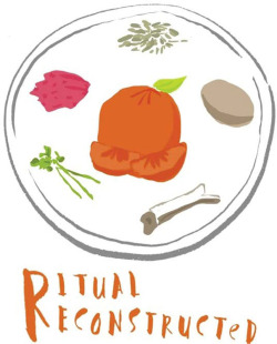 "Figure 1. The logotype for the RR project. Seder means ""order."" Here, a ""foreign"" LGBT orange challenges the traditional order on the Passover Seder plate."