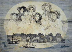 Fig. 5. Kathleen Piercefield, Women of New Bedford: The Captain's Wives, drypoint, monotype, and collagraph. Image courtesy of Marta Hewett Gallery.
