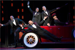 Figure 3. Joshua Henry, Brandon Victor Dixon, Billy Porter, and Brian Stokes Mitchell, as Noble Sissle, Eubie Blake, Aubrey Lyles, and F. E. Miller, respectively, with Richard Riaz Yoder.