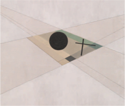 Color Plate K.2. László Moholy-Nagy, AXL II, oil, graphite and ink on canvas, 1927, SRGM 64.1754, detail showing areas of unpainted, primed canvas in the two diagonal shafts. (Photo: Kristopher McKay. © Solomon R. Guggenheim Museum, New York. Gift, Mrs. Andrew P. Fuller, 1964.)