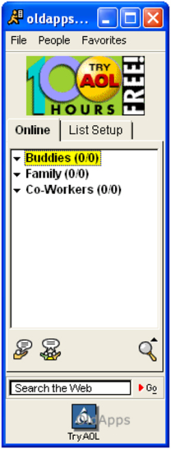 Fig. 6. AOL Instant Messenger Application with an AOL Banner Ad, circa 2000
