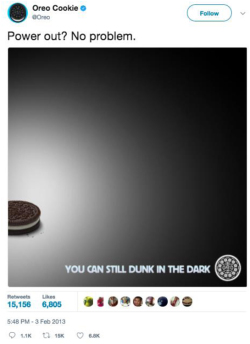 Fig. 10. Social Networking Sites like Twitter Can Be Used by Brands to Share Innovative Messages and Ideas like this Famous Tweet from Oreo