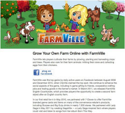 Fig. 14. FarmVille was a Popular Game that Relied on Social Connections to Play; It Included In-Game Advertisements and Required Viewing Ads to Proceed