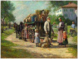 Fig. 17. Painting of a Nineteenth-Century American Peddler Developing a Social Connection to Sell His Wares