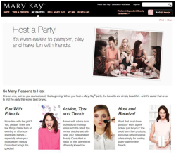 "Fig. 25. Mary Kay's ""Host A Party!"" Website Focuses on ""Fun with Friends"""