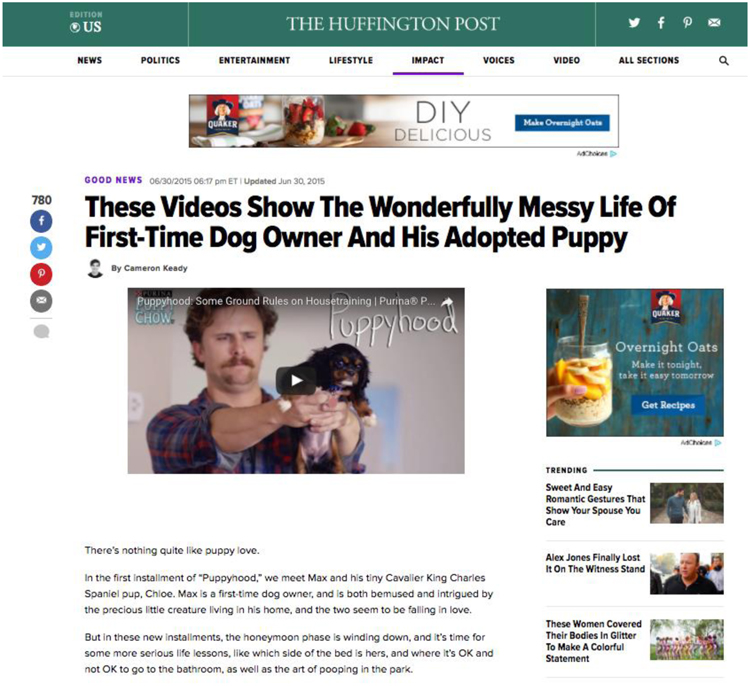 Fig. 32. Puppyhood's Discussion on the Huffington Post, an Example of Earned Media (In this Case Free Publicity)