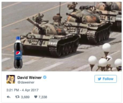 Fig. 36. Twitter Reaction to Pepsi Commercial Making a Reference to the Tiananmen Square Protests of 1989