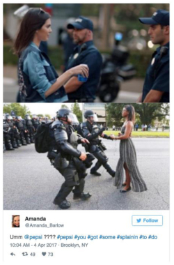 Fig. 37. Twitter Reaction Comparing the Pepsi Commercial to the Image of Ieshia Evans, a Protester Who Faced Police at a Protest of the Police Shooting and Death of Alton Sterling in July 2016
