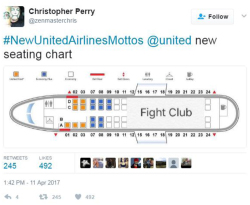 Fig. 40. Satirical Social Media Backlash against United Using #NewUnitedAirlinesMottos