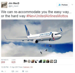 Fig. 41. Satirical Social Media Response to United's Passenger Removal Using #NewUnitedAirlinesMottos
