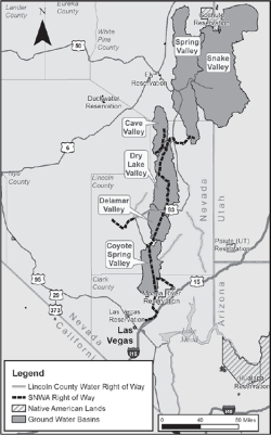 Figure 1. Map of eastern Nevada showing the five groundwater basins (Snake Valley, Spring Valley, CaveValley, DryLake Valley, and Delamar Valley) targeted in SNWA's water right application for its proposed Groundwater Development Project. The Lincoln County, Conservation, Recreation, and Development Act (LCCRDA) establishes corridors in Lincoln County for water conveyance structures and shows the general location of the proposedgroundwaterpipeline.Credit: Adrian Welsh.