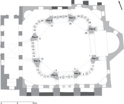 Fig 6. Plan of Sts. Sergius and Bacchus at ground-floor level showing the positions of the twenty-nine inscribed entablature blocks and eight piers. © Jonathan Bardill