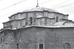 Fig 11. Sts. Sergius and Bacchus, view of the exterior of the dome from the southeast. The darker areas of brickwork are modern repairs. © Jonathan Bardill