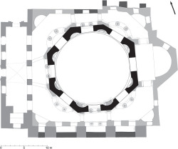 Fig 16. Plan of Sts. Sergius and Bacchus at ground-floor level with proposed original octagonal drum and squinches superimposed. © Jonathan Bardill