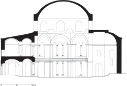 Fig 18. Sectional elevation of Sts. Sergius and Bacchus showing proposed original octagonal drum, squinches, and dome. © Jonathan Bardill