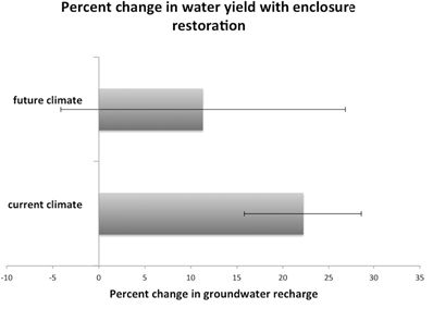 Figure 3. Percentage change in groundwater recharge in enclosed areas with restoration (current land cover to partial restoration). Partial restoration increased ground-water recharge [in millions of m3 per year (MCMY)] within each climate scenario in the exclosure areas (though only significantly so in the current climate scenario). Error bars are error (1 SD) of difference between before and after restoration; where they do not overlap with zero, there is confidence in the direction of change.