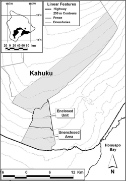 Figure 2. Hawai'i Island and Hawai'i Volcanoes National Park (in black) (inset). The gray area is the total distribution of mouflon in the Kahuku Unit (approximately 130 km2). Mouflon control was conducted in the enclosed unit and unenclosed area of the Kahuku Paddocks from 2004 to 2016.
