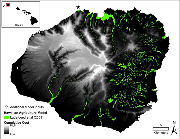 Figure 2. Kaua'i cumulative slope cubed cost surface as each cell moves away from the starting features of Hawaiian agriculture model (green) and augmented known Hawaiian habitation localities (white diamonds). The star indicates the location of Hā'ena, the ahupua'a of focus used for model training in this study.