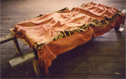 Figure 4. Maria Madeira, Silence at What Price?, 1996. Mixed media with tais, 200 × 100 × 30 cm. Image courtesy of the artist