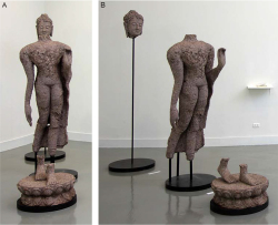 Figure 12. A, B: Kamin Lertchaiprasert, Lord Buddha Said 'If you see dhamma, you see me', 2003/4. Shredded Thai Bath bank notes, A) Installation view; B) Head 244 × 73 × 73 cm; Torso 206 × 83 × 79 cm; Feet 70 × 79 × 78 cm. Images courtesy of the artist