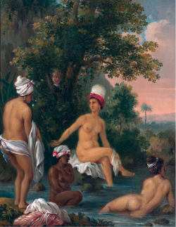 Figure 3. Agostino Brunias, Mulâtresse and Negro Woman Bathing, oil painting Gift of Harvard College Library, Courtesy of the Peabody Museum of Archaeology and Ethnology, Harvard University, PM# 975-5-30/9416d